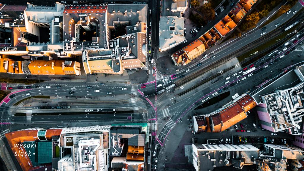 ulica widok z drona fotografia wrocław